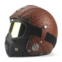 Retro Vintage Motorcycle Helmet Chopper Scooter Synthetic Leather 3/4 Open Face Casco Moto Helmet DOT