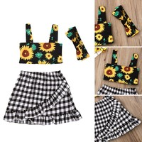 US Stock 3PCS Toddler Kids Baby Girl Sunflower Clothes Tops+Checks Skirts Outfit