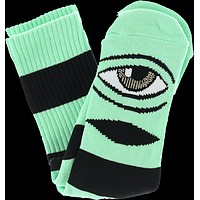 Toy Machine Sect Eye Big Stripe Crew Socks-mint 1 Pair