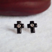 5 x 7 mm Black Cross Sterling Silver Earring with Clear CZ Cubic Zirconia - Unisex gift under 10