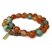Change and Stability, Faceted Carnelian and African Turquoise 27 Bead Mala Wrap Bracelet