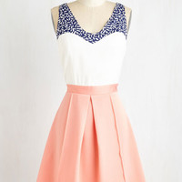 Colorblocking Mid-length Sleeveless Fit & Flare Shorefront Sherbet Dress