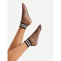 ONETOW Striped Trim Fishnet Socks