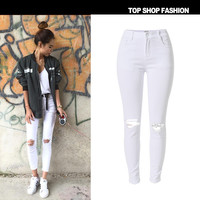 Fashion High Waist Slim Stretch Denim Ripped Holes Hot Sale Skinny Pants [6365915332]