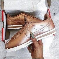 NIKE Classic Cortez Fashionable Women Men Casual Sport Running Shoes Sneakers Rose Golden