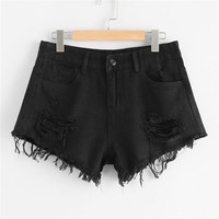 Hot Shorts COLROVIE 2018 New Hem Ripped Denim  Black Summer Mid Waist Button Fly Casual Jeans  Women Clothes Black Loose AT_43_3