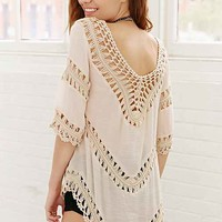 Ecote Crochet Inset Tunic Top- Neutral Multi