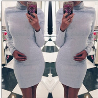 High Neck Slim Warm Long Sleeves Short Dress