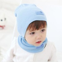 FEITONG Hat Boys Girls Children Cap + Scarf Suit Candy Colored Hats New Autumn Winter Keep Warm Cap For girls Fashion Solid  Hat