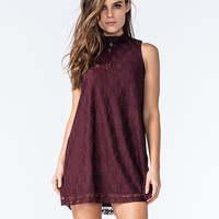 Socialite Womens Mock Neck Lace Dress Eggplant  In Sizes