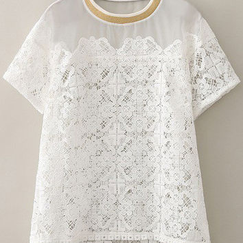 White Lace Short Sleeve T-Shirt