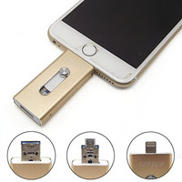 eMart Apple Cell Phone 32GB USB Flash Drive i-Flash U-Disk Memory Stick Pen Drive for Computer, iPhone & iPad Series and Android Cell Phone Series - Gold