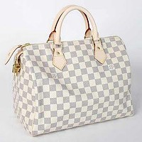 LV Tide brand men and women personality wild travel bag large capacity handbag White Check