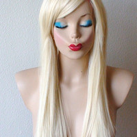 Summer Special // Blonde wig. Long straight pure blonde hair wig. High quality  Heat resistant synthetic wig.