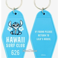 Licensed cool Loungefly Disney Lilo & Stitch Hawaii Surf Club Blue Keychain Key Ring Chain NWT