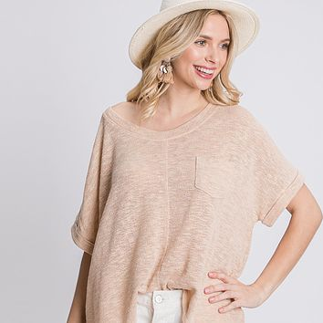 Oversize Distressed Knit Top
