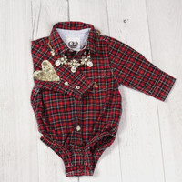 Sequin Heart Patch Baby Christmas Plaid Shirt - Hipster Grunge Plaid Shirt Bambii Littles