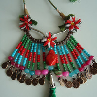 Free-Shipping Glass Beaded Red-Blue Authentic Necklace, Hippie Style, Lace, Oya