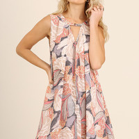 Coral Keyhole Floral A-Line Dress