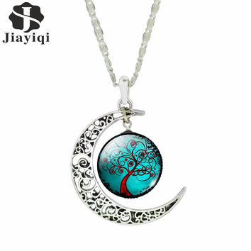 Fashion Glass Moon Statement Necklace Vintage Silver Color Jewelry Life Tree Art Picture Pendant Necklace for Women 2015