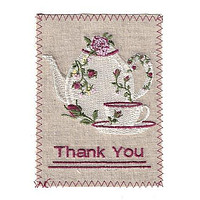 Embroidered Linen Teapot Thank You Greeting Card