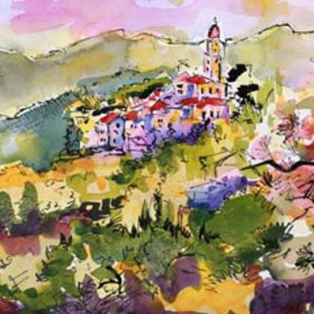 Spring In Liguria Italy Watercolor Painting