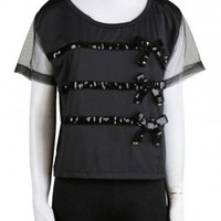 Bow Sequin Blouse   Shirts   Polo Shirts   Clothing   WOMEN   Indie Clothes & Accessories