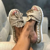 Fashion Sandals Shoes Women Bow Sandals Slipper Indoor Outdoor Flip-flops Beach Shoes Female Slippers