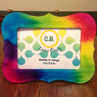 Colors of the Rainbow Tie-Dyed Wooden Picture Frame