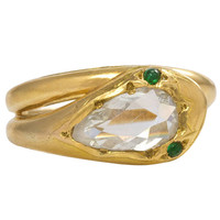 Antique English Gold Snake Ring with Diamond-Set Head