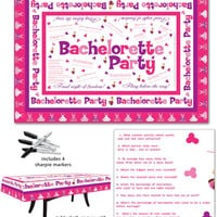 Bachelorette Party Table Cloth W-trivia Game & 4 Markers