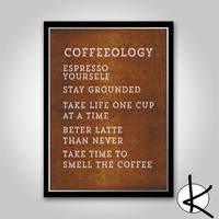 Coffeeology -  11x14 or 12x16 (A3) Typography Coffee Print (A3)
