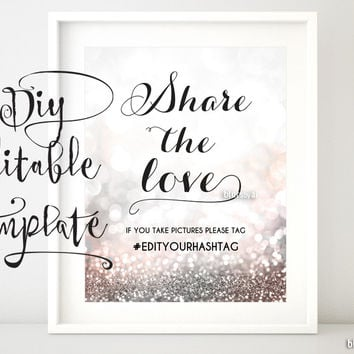 Share the love, blush and silver glitter hashtag sign template (for editing yourself in Word)