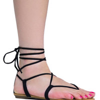 LACE UP ANKLE TIE SANDAL