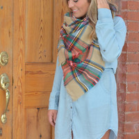 Oversized Blanket Scarf - Tan