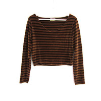 90's Brown and Tan Striped Velvet Cropped Sweater size - M