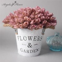1 Set flower + vase artificial plant with iron bucket farmhouse style table accessories Christmas wedding decoration for home