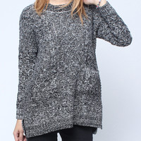 'The Janiya' Gray Long Sleeve Knitted Sweater