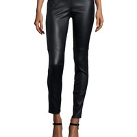 Stretch Leather Leggings, Size: