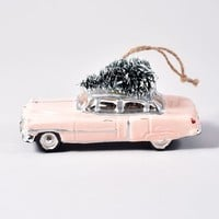 Pink Cadillac Glass Ornament