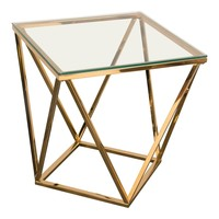 Gem End Table with Clear Tempered Glass Top and Polished Stainless Steel Base in Gold Finish
