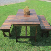 5' Dining Table & 2-Bench Set, Reclaimed Wood, Kitchen Table, Patio Table, Picnic Table, Porch Table, Rustic Table, Barn Wood, Farmhouse