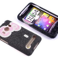 HTC EVO 4G Case, Smile Case Hello Kitty Bling Rhinestone Crystal Jeweled Snap on Full Cover Case for Sprint HTC EVO 4G (EVO-Bowknot Black)