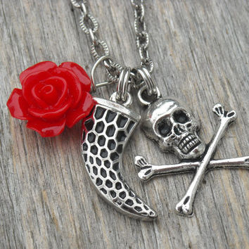 Skull Necklace Red Rose Horn Tusk Fang Silver Spike Gothic Goth Punk Rock n Roll Rocker Rock and Roll Heavy Metal Rockabilly Psychobilly