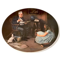 """Edward M. Knowles Collectible Plate, Norman Rockwell, """"The Storyteller"""" 1984 Limited Edition, Heritage Series, Fine China, Vintage Plate"""