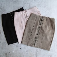 Final Sale - After Midnight Suede Lace-Up Skirt - More Colors