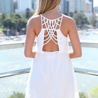 White Multi-Strap Back Detail Dress with Gathered Waist