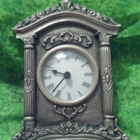 Gray Silver Tone Pewter Mantel Clock With Scroll and Columns Design Battery Operated Made in India Not Working Needs Repair Great for Parts - Edit Listing - Etsy