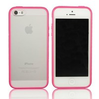 SUPWISER-5SBIANKUANG09 New Hot Bumper Skin Case With Frosted Clear Back Cover For iPhone 5/5S Hot Pink