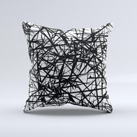 Black and White Shards ink-Fuzed Decorative Throw Pillow